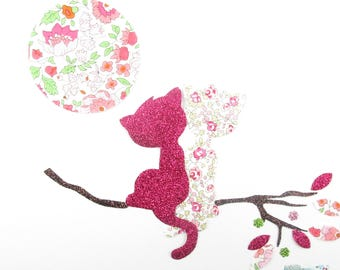 Applied fusing cats in love straight Moon liberty Eloise and Anjo coat pink liberty patch iron iron on liberty