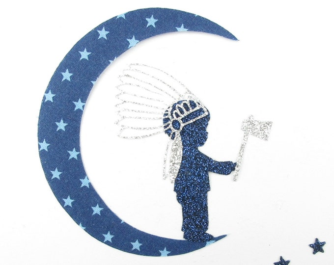 Applied fusing boy sioux Indian Chief Moon axe starry Navy blue fabric war flex glitter iron on patch