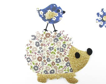 Iron on patch applied fusing Hedgehog and bird liberty Fairford taupe liberty patch iron on liberty fabrics