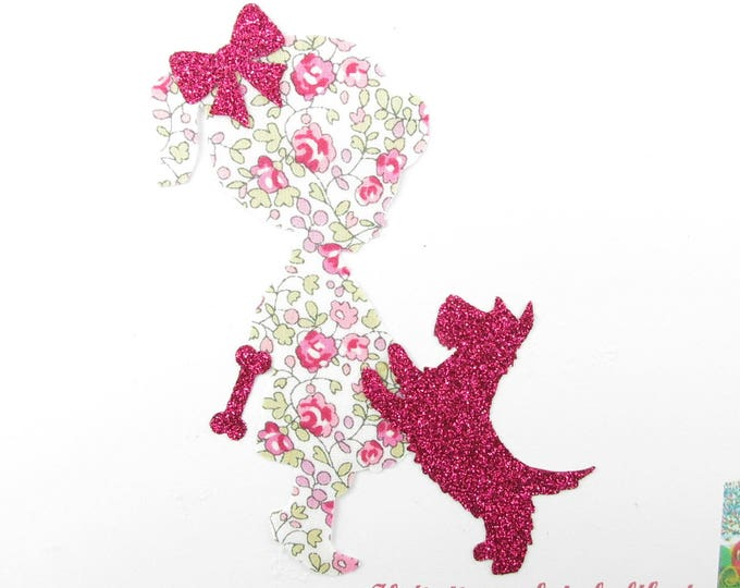 Applied fusible little girl and dog scottish liberty Eloise pink flex glitter patch iron on fusible pattern liberty coat