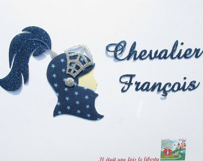 Applied fusing Knight's helmet & name personalized Navy blue fabric + glitter flex patch iron on fusible pattern