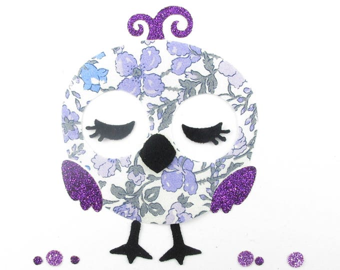 Applied fusible drowsy June's Meadow Liberty purple bird and flex glitter patches iron fusible liberty bird motifs