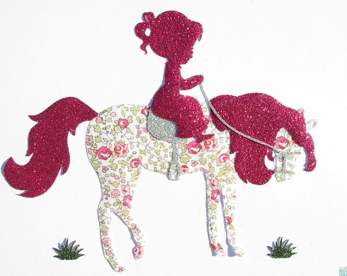 Applied fusing applied glitter flex fusible liberty horse and girl rider liberty Eloise pink