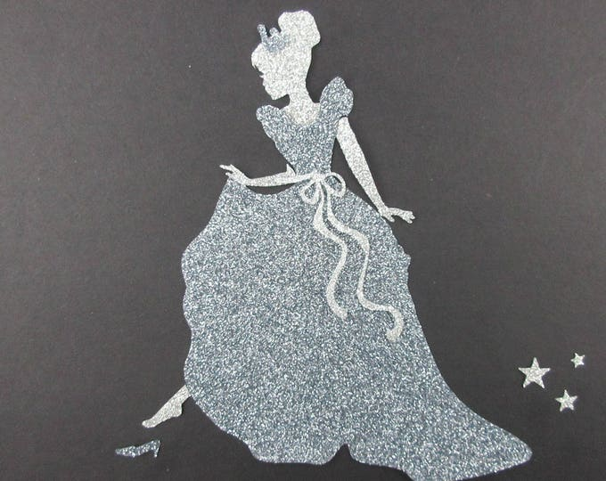 Applied fusing Cinderella and her glass slipper in grey, and silver glitter flex patch iron iron on glittery fabrics