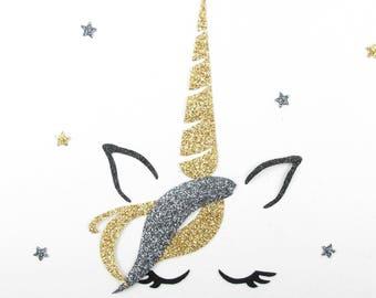 Applied fusible fabric Unicorn head glitter patch pixel Unicorn pattern fusible badge glitter unicorn iron on
