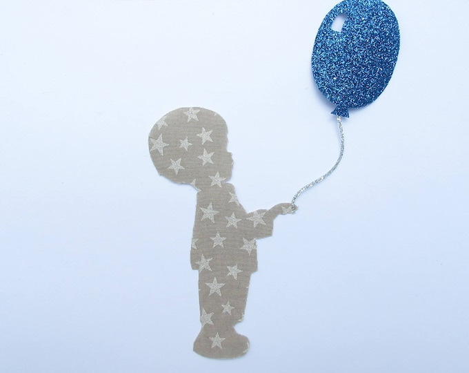 Applied fusible boy & ball Silver Star taupe cloth flex glitter patch pixel pattern boy fusible badge