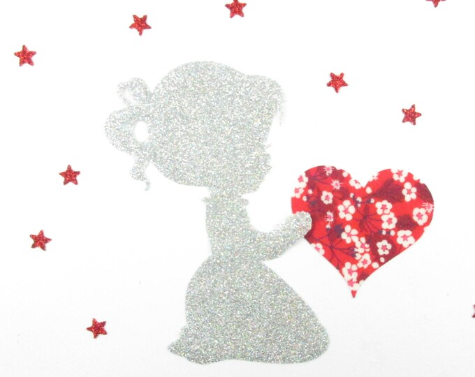 Applique girl and heart libertyMitsi valeria fusing red glitter flex fusible applique liberty iron on patch