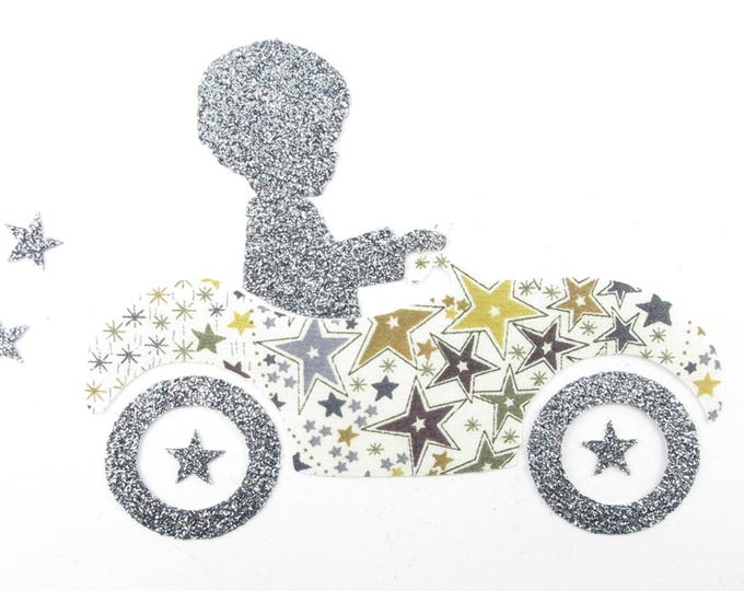Patch iron on fusible appliqué Speedster car car applique and boy liberty Adelajda Brown and fabric glitter coat