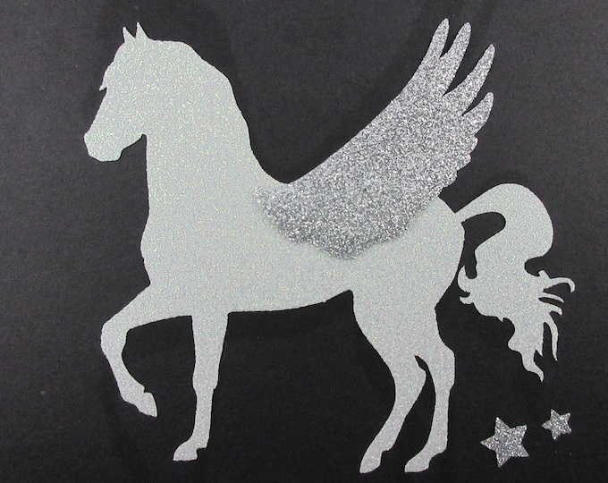 Applied fusible winged horse Pegasus glittery fabric white & silver patch iron-on glitter glitter horse horse coat pattern