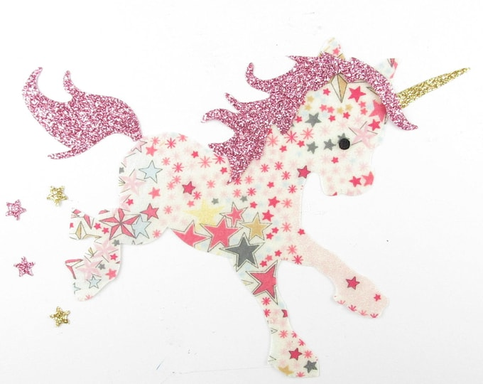 Applied fusible Unicorn that short fabric Adelajda pink flex glitter patch iron on fusible pattern liberty coat