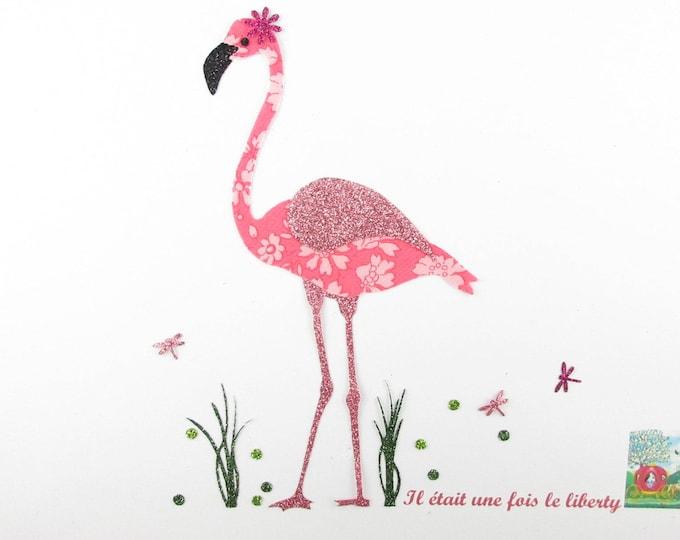Fusing Flamingo liberty Capel coral and glitter flex patch liberty iron escutcheon Flamingo Flamingo pattern