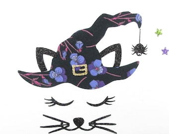 Applied fusible cat witch Halloween spider liberty Ros purple glitter flex patch iron halloween witch applique design