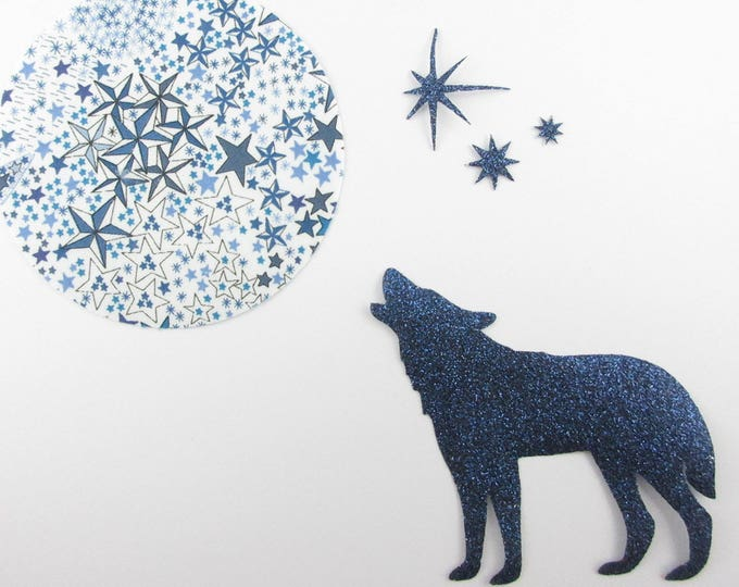 Applied fusing Wolf and Moon in liberty Adelajda blue, and fabric glitter Thermo liberty Wolf patches appliques