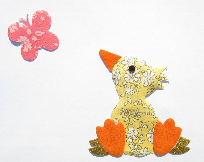 Applied fusing duck Capel liberty fabric Butterfly yellow & coral flex glittery liberty fusible applique patches
