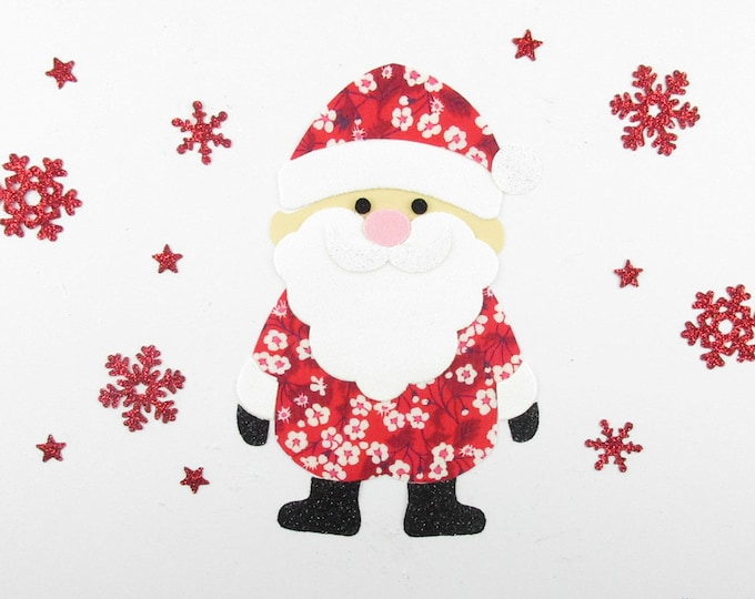 Fusing Santa fabric liberty Mitsi valeria flex glitter and velvet fusible pattern liberty applique santa iron on