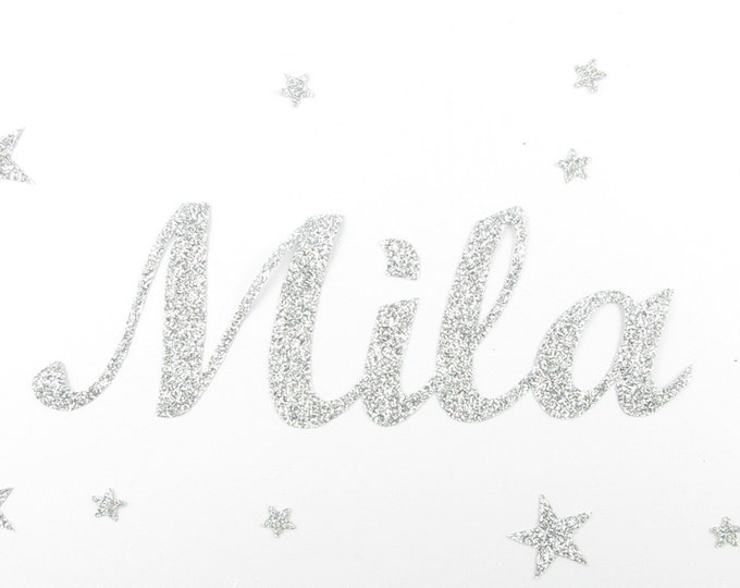 Applied fusible customizable glitter name of 4 letters (Mila, example) glitter fabric (colors)