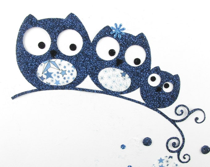 Applied fusible owls owls family gift baby liberty Adelada flex blue glittery patch iron on applique liberty