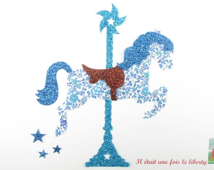 "Applied fusing liberty carousel horse ""The carousel"" fabric liberty Katie and Millie and flex glitter patch iron on patch"