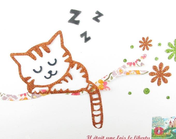 Applied fusing sleeping cat liberty Kaylie sunshine and flex glitter patch liberty fusible iron-on applique cat