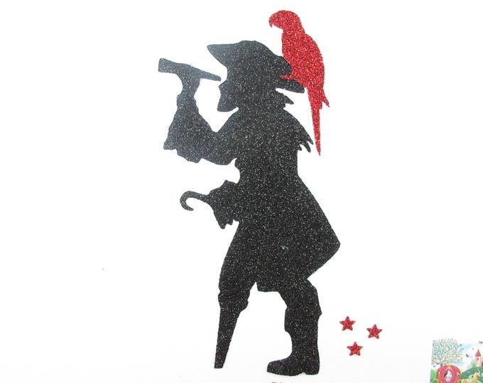 Iron on patch applied fusible pirate and glittery fabric black, applied pirate Parrot, fusing pirates, pirate coat