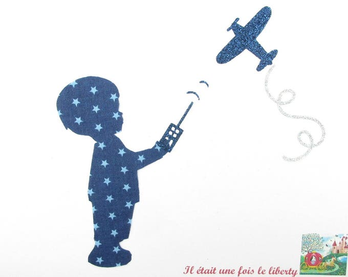 Applied shape in your little boy and airplane Navy Blue Star fabric and flex glitter patch iron boy airplane patch applique