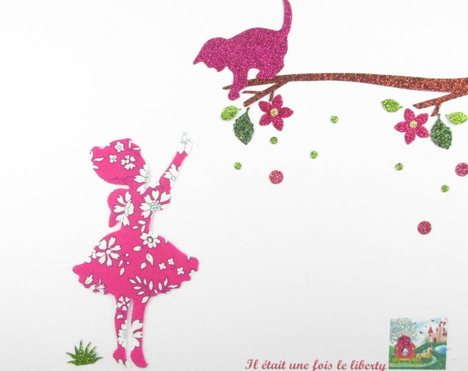 "Applied shape in your little girl and cat ""Come quickly little rascal!"" liberty Capel fuchsia glitter flex pattern fusible cat"