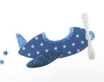 Applied fusing plane Navy blue glitter fabric stars and flex glitter patch pixel pattern plane badge iron flat