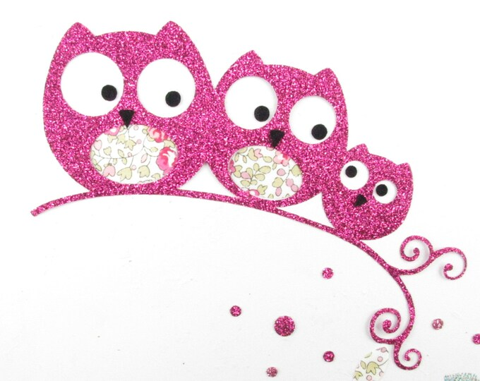 Applied fusible owls owls family gift baby fabric liberty Eloise pink flex glitter patch iron on patches