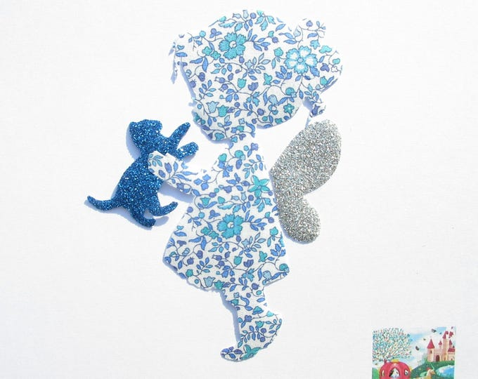 Applied fusing fairy and kitten in Katie and Millie blue liberty fabric glitter. applique liberty fusing pattern cats