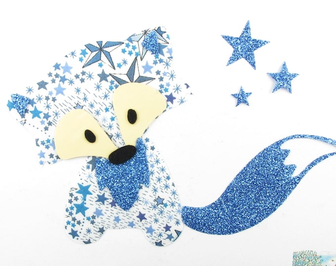 Applied fusing aback Fox in liberty Adelajda blue, and flex glitter patch iron on fusible patterns liberty badges