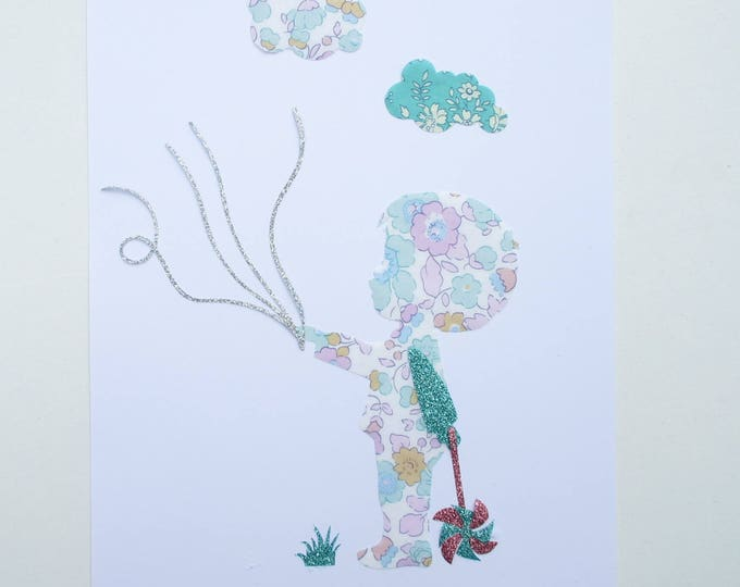 Applied christening tree seconds to prints featuring a boy holding liberty Betsy Celadon and glitter flex wires