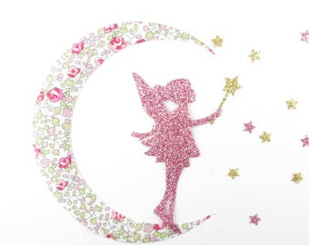Applied liberty fusing fairy Moon fabric liberty Eloise pink flex sequined patch liberty iron-on appliques