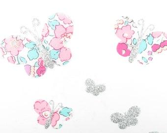 Applied fusible fabric butterflies liberty Betsy Amélie flex glitter patch liberty fusible iron-on appliques ecussond