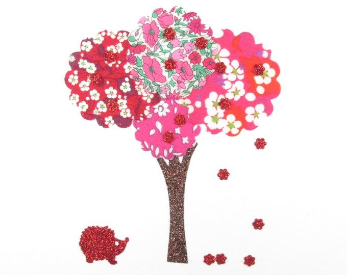 Applied fusible liberty tree fabric Mitsi Mitsi valeria Capel Petal and bud roses & red + flex glitter patch iron on patch