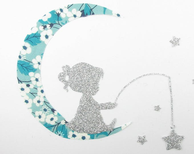 Applied shape in your little girl fishing for stars Moon liberty Mitsi Mint and flex glitter patch iron on applique liberty