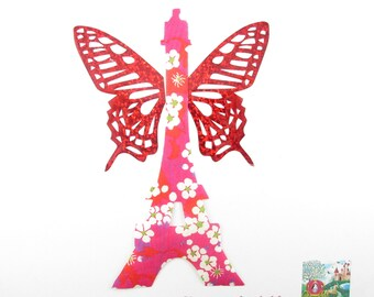 Applied fusible Eiffel Tower in liberty Mitsi hot pink, fusing patch liberty liberty iron on liberty fabrics