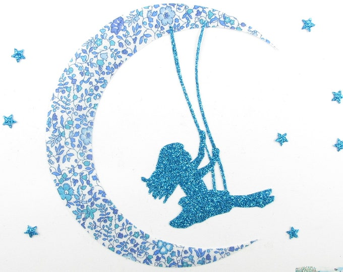 Applied fusible liberty girl on Moon 1 balancoiretissu Katie & Millie flex blue glittery pattern fusible applique liberty