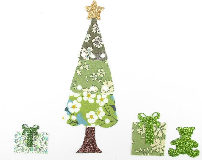 Applied shape in your Christmas tree and gift tissue liberty Capel green Mitsi green, Khaki Lecien green flex Newland glitter badges