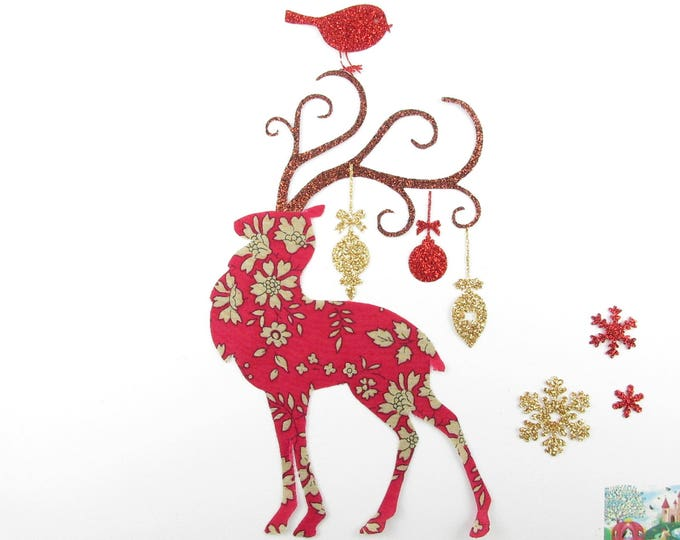 Red reindeer Christmas fabric liberty Capel seconds and flex glitter patch iron on fusible liberty Christmas pattern
