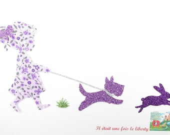 Applied shape in your little girl walking her dog liberty and flex glitter.