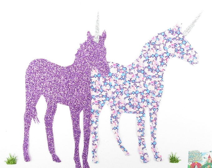 Patch iron on Couple of seconds liberty purple Pepper & flex unicorns glitter patterns fusing unicorns appliques patches