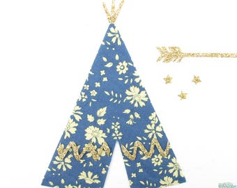 Fusing tent Indian Tipi liberty Capel blue and glitter flex pattern fusible iron-on patch Indian tent coat