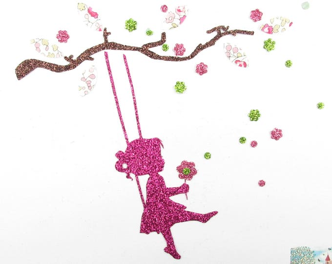Applied shape in your little girl on a swing liberty Eloise pink and glitter flex fusible patterns liberty fingerprint tree