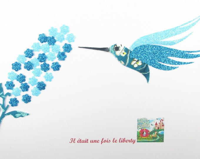 Applied fusing Hummingbird liberty Pamela Judith Capel blue and iron on fusing en tissu liberty liberty iron on patch