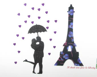 Applied fusing Eiffel Tower liberty Ros purple liberty patch, iron on patch iron on liberty fabrics