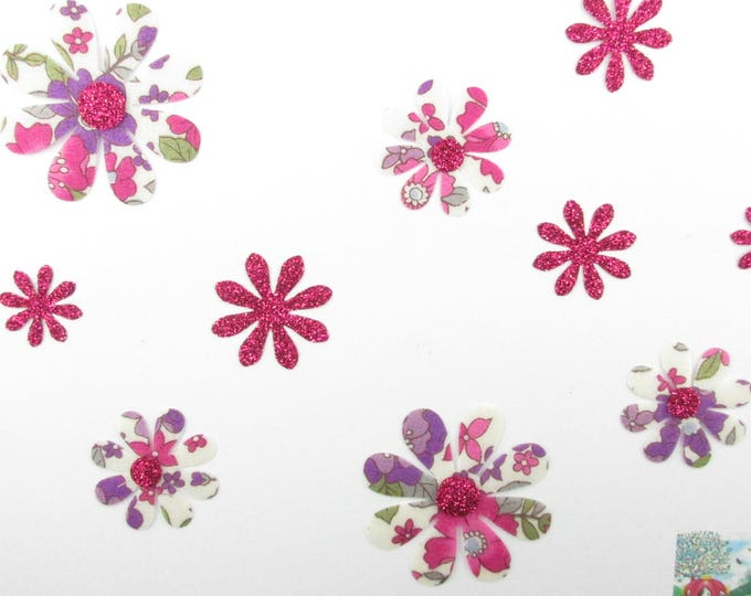 Applied 10 seconds fabric flowers liberty Japanese Lecien purple and fuchsia flex fusible patterns paillete liberty flowers