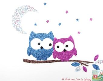 Applied fusing love owls fabric liberty Eloise Blue Coat liberty patch iron iron on liberty fabrics