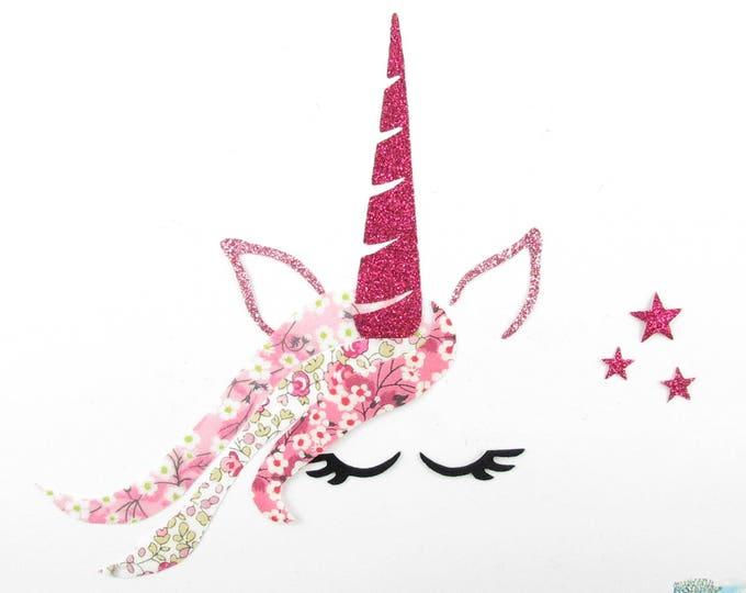 Applied fusible patch pink liberty fabric Unicorn head Unicorn pattern fusible iron-on patch glitter unicorn iron on