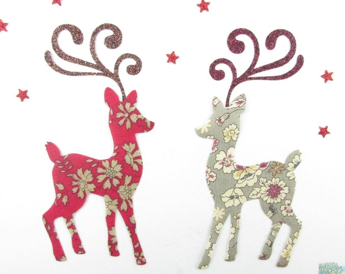 Applique reindeer liberty Capel red fusing & Lecien taupe glitter flex fusible Christmas applique liberty patch iron on patch