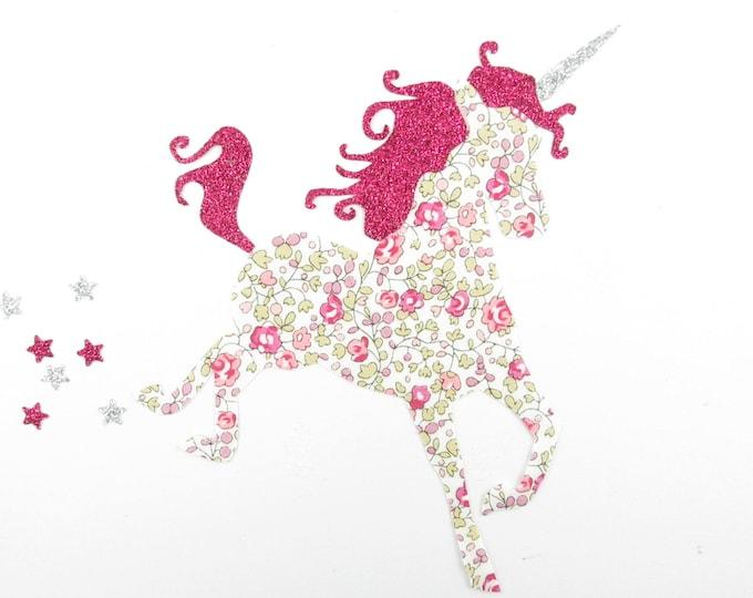 Iron on patch applique liberty fusible Unicorn liberty Eloise pink and fabric glitter fuchsia, iron on liberty fabrics